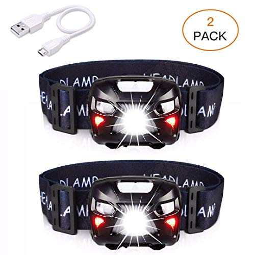 APUNOL 2Packs Head Torch, Rechargeable Waterproof Headlamp LED Headlight...