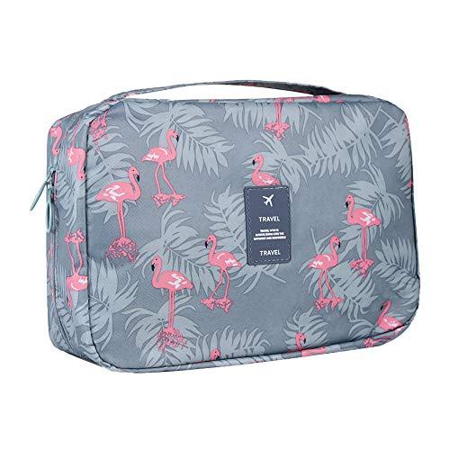 ElifeAcc Hanging Travel Toiletry Bag Folding Bathroom Organizer Portable Cosmetic Wash Bag for Women Girls(A Grey Flaminge)