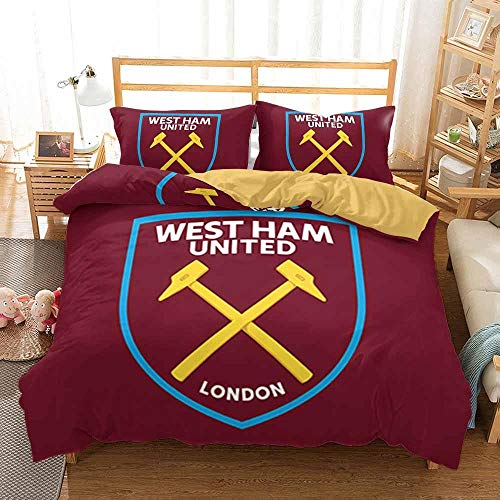 Duvet Cover Double Bed 200 x 200 cm Bedding set Microfiber 3 pieces with 2 Pillowcases 50 x 75 cm with Zipper West Ham United Football Club printing Duvet Cover set