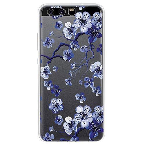 Compatible con Huawei P10 Lite, funda transparente de silicona, ultrafina, protección de color de flores, compatible con Huawei P10 Lite. 8 M