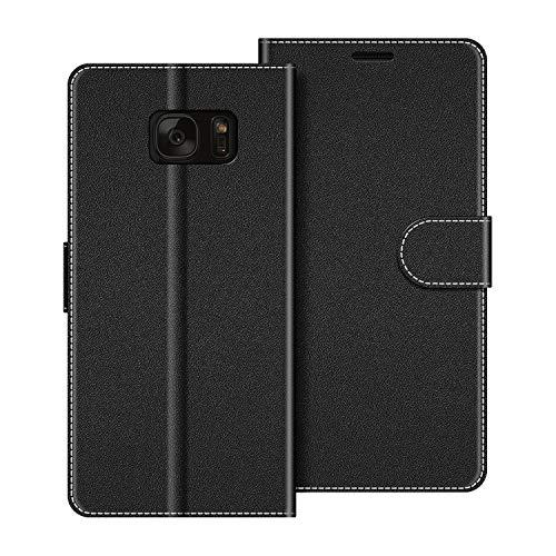COODIO Custodia per Samsung Galaxy S7, Custodia in Pelle Samsung Galaxy S7, Cover a Libro Samsung S7 Magnetica Portafoglio per Samsung Galaxy S7 Cover, Nero