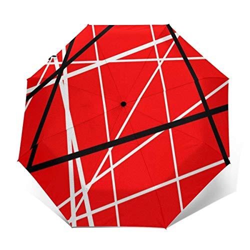 Automatischer dreifach gefalteter Regenschirm Schützen Sie Sonnenschutz Robuste winddichte leichte Regenschirme Red With Black White