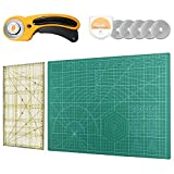 Rotary Cutter Set, Lorryhaus A3 Self Healing Cutting Mat Set with 45mm Fabric Cutter and 5 Replacement Blades-...