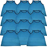 BlueDot Trading Adult Sports Pinnie Scrimmage Training Vest, Light Blue, 12 Pack