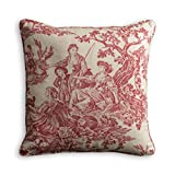 Maison d' Hermine Miller 100% Cotton Toile Decorative Pillow Cover for Couch Sofa Cushion Bedroom (Red, 18 Inch by 18 Inch)