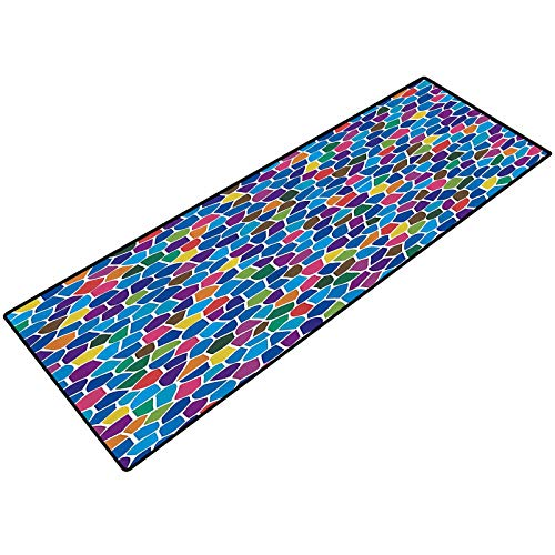 Modern Decor Small Kitchen Rug Vivid Rainbow Colored Mosaic Design Shapes in Blue Yellow Green Orange Red Art Washable for Home Office Standing Desk Rug