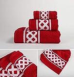 Confort Home M.T (Rojo Bolas) Juego de Toallas de baño 3 Piezas (1 Toalla de baño, 1 Toallas de Manos y 1 Toalla Cara) 100% algodón, Toallas Ligeras y absorbentes. (Rojo)