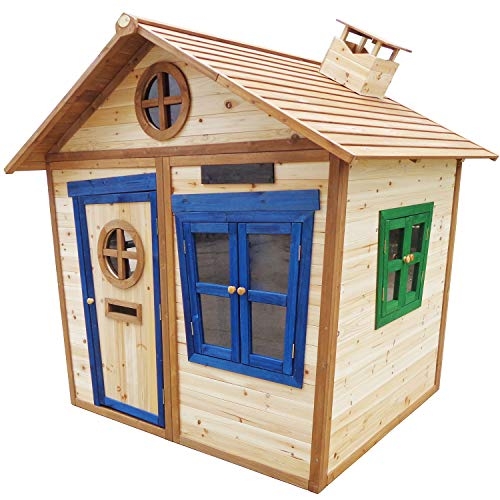 Big Game Hunters 6 x 5 Redwood Mansion Wooden Playhouse – Painted Large Wendy House with Letterbox