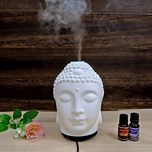TOP Sacred Ceramic Buddha Head LED Lighting USB ultrasonic Aroma humidifier for Home Office desktop Car Outdoor
