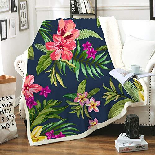 WNxiaobaozi deken, beddengoed warme 3D-printen deken, tropische planten en steiger, pluizige fleece zachte dubbele gooi deken, Sherpa pluche flanel deken voor cover bank bed