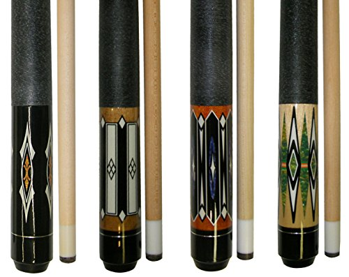Lot of 4-58' 2 Piece Hardwood Canadian Maple Pool Cue Billiard Table Stick 18-21 Oz with Steel Joint (set2)