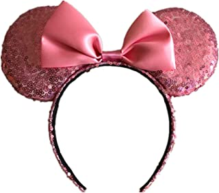 WLFY Mickey Mouse Minnie Mouse Sequin Ears Headbands Butterfly Glitter Hairband (Sequin Pink)