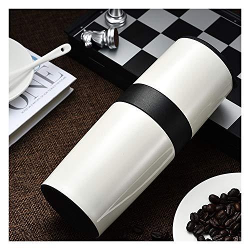 Huishoudelijke Koffiemachines, Creatieve Draagbare RVS Mok Handmatige Multifunctionele Koffiemolen Koffiebeker Modern design size Kleur: wit