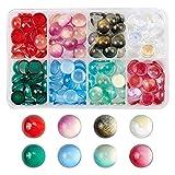 PandaHall Cabujones de cristal de 8 colores con polvo de purpurina, 135 cabujones de cristal pintado en spray de 12 mm, cúpula para fotos, camafeo, joyería, manualidades, álbumes de recortes