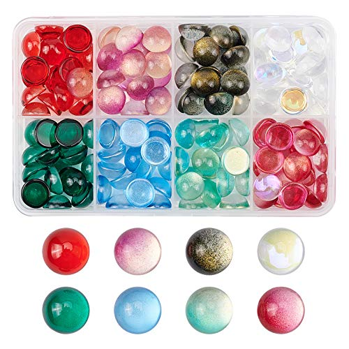 PandaHall 8 Color Glass Cabochons with Glitter Powder, 135pcs 12mm Spray Painted Glass Cabochons Dome for Photo Cameo Pendant Jewelry Making Handcrafts Scrapbooking