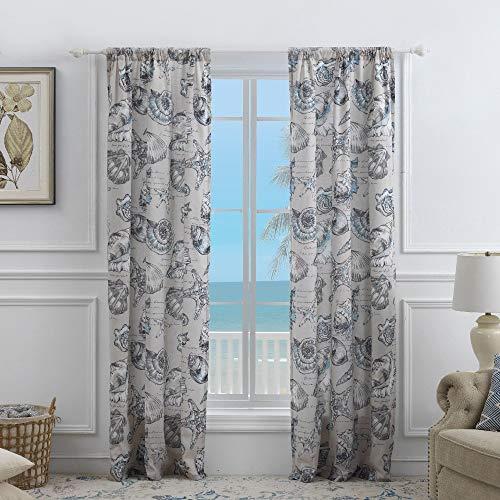 Barefoot Bungalow Cruz Coastal Curtain Panel Set (Set of Two Panels) - 84 W x 84 L (inches) - 84 W x 84 L (inches) Linen