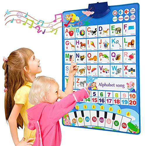 Bilingual ABC Learning Toys for Toddlers, Electronic Interactive Alphabet Poster, Talking 123s & Songs & Piano Keyboard, Speech Therapy Toys Age 3-5 Kids, Educational Toy for 3+ Year Old Boys & Girls