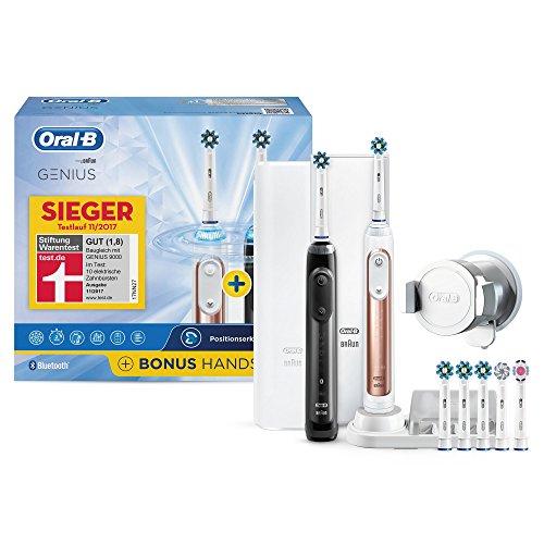 Oral-B Bonuspack Genius Wiederaufladbare Elektrische Zahnbürste, 2 Handstücke mit Bluetooth-Verbindung, 6 Modi, 7 Aufsteckbürsten, rosegold und schwarz