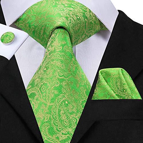 YTGUEVKDH Men Silk Tie Grass Green Ties Floral Necktie Boutonniere Handkerchief Cufflinks Set Wedding Cravat Compatible with Groom 8.5 cm (Color : SN 3054)