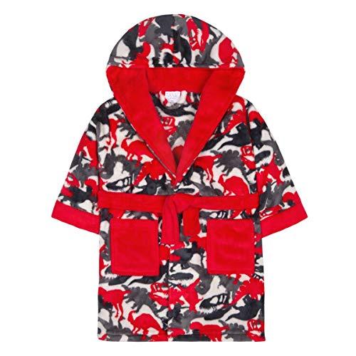 Bademantel für Jungen / Kinder, weicher Plüsch, Fleece, kuschelig, warm, Geschenk 2-13 Gr. 2-3 Jahre, Red Dino Camo Print mit Kapuze