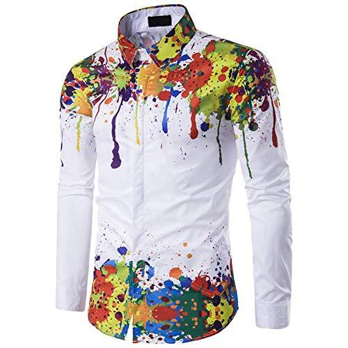 Mens Printed Shirts, Männer Splash-Tinte Malerei Langarm Shirt Druck 3D Abnehmen Hemd Dünne Modell Blumiges Hemd