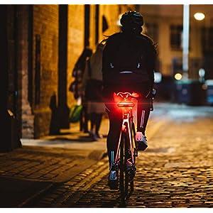 MojiDecor Luz Trasera de Bicicleta Recargable USB, Luz de Bicicleta Trasera, Automático on/Off, Detección de Frenos, para Cualquier Bicicleta de Carretera (USB, Resistente al Agua)