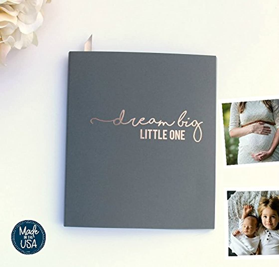 Baby Memory Book Modern Grey, Rose Gold Embossing. Flat-Lay, Premium Cardstock Softcover Book. 100 pgs, Baby Shower Gift Baby Shower Advice Book Baby Shower Guest Book Baby Shower Games Advice (Grey)