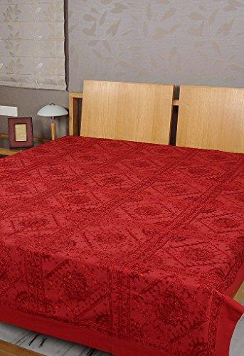 Rajrang Tagesdeckes Baumwolle rot - mit Spiegeleffekt - Handarbeit Doppelzimmer Bettlaken