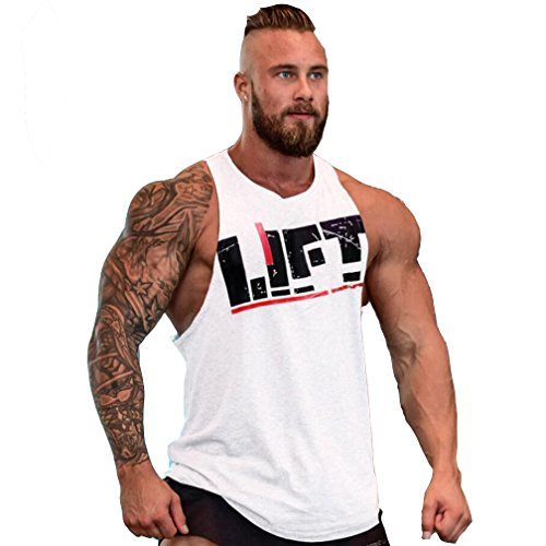 Befox Herren Fitness Muskel Gym saugfähige Weste Bodybuilding Lift Stringer Tank Top,M-XXL
