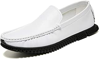 LFSP Mens Penny Loafers Boat Shoes Classic Loafer Shoes for Men Slip On Style PU Leather Simple Solid Color Anti Slip Soft Lug Outsole Round Handmade Flats A (Color : White, Size : 45 EU)
