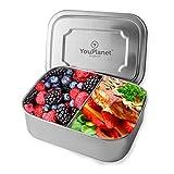 YouPlanet® Premium Lunchbox 1000ml aus Metall - Edelstahl mit Trennwand - BPA Frei - Bento Box für Kinder und Erwachsene - Brotdose, Brotbüchse, Vesperdose - inkl. GRATIS Besteck