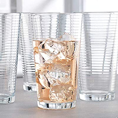 Attractive Highball Glasses, Durable Drinking Glasses [Set Of 10] for Water, Juice, Cocktails, Beer and Wine, Heavy Base Ribbed Glassware Set - 16 Ounce