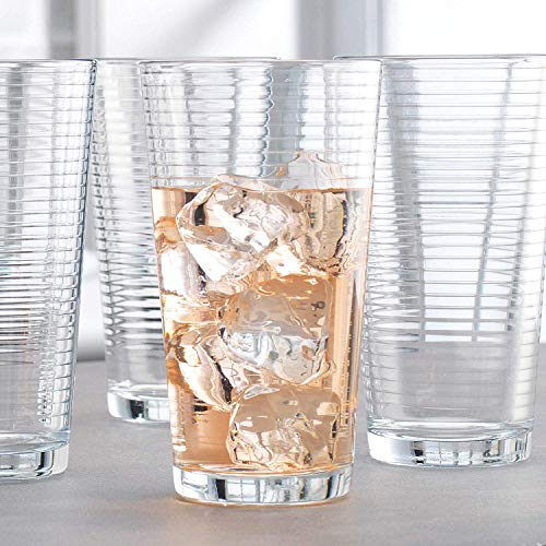 Attractive Highball Glasses Durable Drinking Glasses Set Of 10 for Water Juice Cocktails Beer and Wine Heavy Base Ribbed Glassware Set  16 Ounce