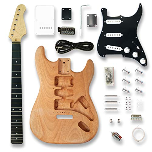 DIY Electric Guitar Kits for ST Electric Guitar, okoume Body, Black Pickguard,