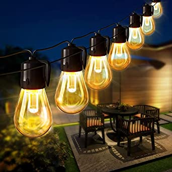 50FT LED Outdoor String Lights, LAMYAR Commercial Grade Weatherproof Outdoor Patio String Lights with 1W 15 Edison Bulbs, UL Listed Outdoor Cafe Lights for Backyard Garden Bistro Wedding Christmas
