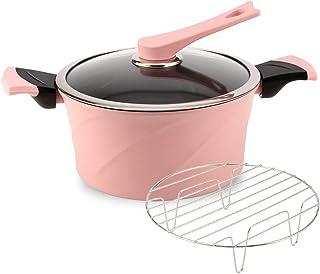24CM Diameter Cooking Saucepan Sauciers Stockpots Braiser Pans Slow Cookers Pasta Pots Lasagna Pans with Cover And Handle,...