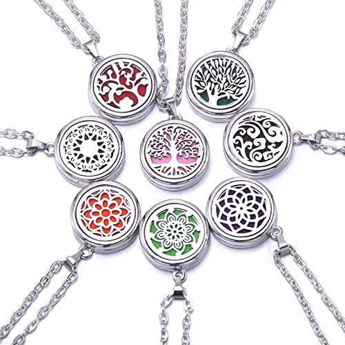 aolongwl Collar con medallón de aroma de acero inoxidable, difusor de aceites esenciales, collar de perfume con colgante de joyería para mujer