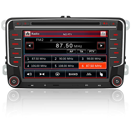 Autoradio pour VW Voiture stéréo 7 Pouces 2 Din HD Bluetooth Navigation GPS stéréo DVD CD Radio Carte SD USB Multimédia Player