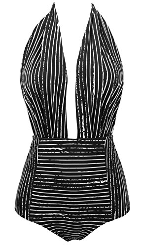 COCOSHIP Black Striped & White Balancing Act Vintage One Piece Backless Bather Swimsuit High Waisted Pin Up Swimwear Maillot XL(US10)