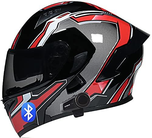 SJAPEX Casco de Moto Modular Bluetooth Integrado con Un Micrófono Incorporado Anti Niebla Visera Doble ECE/Dot Homologado Adultos Hombres Mujeres Cascos Moto C,L=59~60cm