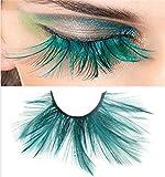 Dorisue Halloween eyelashes Double Lip Black with Green Big Extra Long Feather eyelashes Extra extension Halloween Green Feather Tip False Eyelashes Dance Halloween Costume