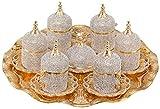 Grand Gifft Handmade Copper Turkish Coffee Espresso Serving Set Swarovski Crystal Coated C...