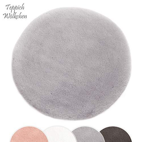 Kurzfell-Teppich Kunstfell Hasenfell Imitat | Wohnzimmer Schlafzimmer Kinderzimmer | Als Faux Bett-Vorleger oder Matte für Stuhl Hocker Sofa (Grau, 160 cm rund)