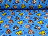 Paw Patrol Nano Softshell Stoff Fahrzeuge, blau (25cm x