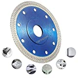 Diamond Saw Blade Cutting Disc, 115 mm 4.5' Super Thin Porcelain Cutting Blade, Dry/Wet Angle Grinder Wheel Disc for Cutting Porcelain Tiles, Granite Marble Ceramics Reinforced Concrete - Blue