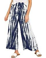 ReachMe Womens Casual Tie Dye Palazzo Wide Leg Lounge Pants Summer Flower Print Beach Trousers Pants(Navy Blue,XL)