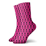Elsaone Calcetines Unisex Fun Dress - Calcetines coloridos Funky - Calcetines rosas con calaveras y huesos cruzados