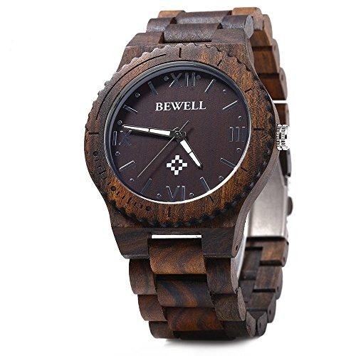 BeWell YSL-UK-169543203 - Orologio da polso da uomo, Legno, colore: legno d'ebano