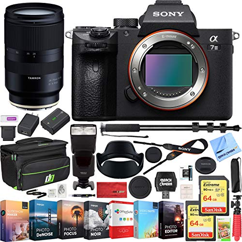 Sony a7III Full Frame Mirrorless Interchangeable Lens Camera Body Bundle with 28-75mm F/2.8 Di III RXD Full Frame E-Mount Lens, 64GB Memory Card, Bag, Flash, Monopod and Accessories (5 Items)