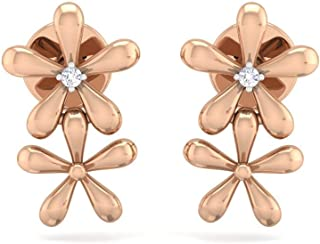 Perrian 18K Rose Gold 0.02 Carat (SI2 Clarity, GH Color) Round Diamond Earrings for Women